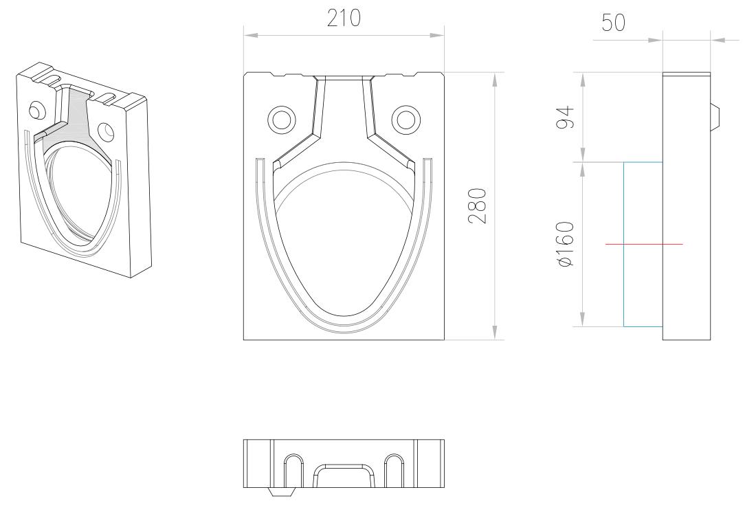 Esquema técnico de la tapa inicio/final con junta labiolaberíntica DN/OD 160 para el canal MONOBLOCK RD150V 0.0 L50 A210 H280 en homgión polímero.