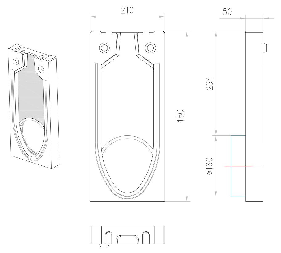 Esquema técnico de la tapa inicio/final con junta labiolaberíntica DN/OD 160 para el canal MONOBLOCK RD150V 20.0 L50 A210 H480 en homgión polímero.