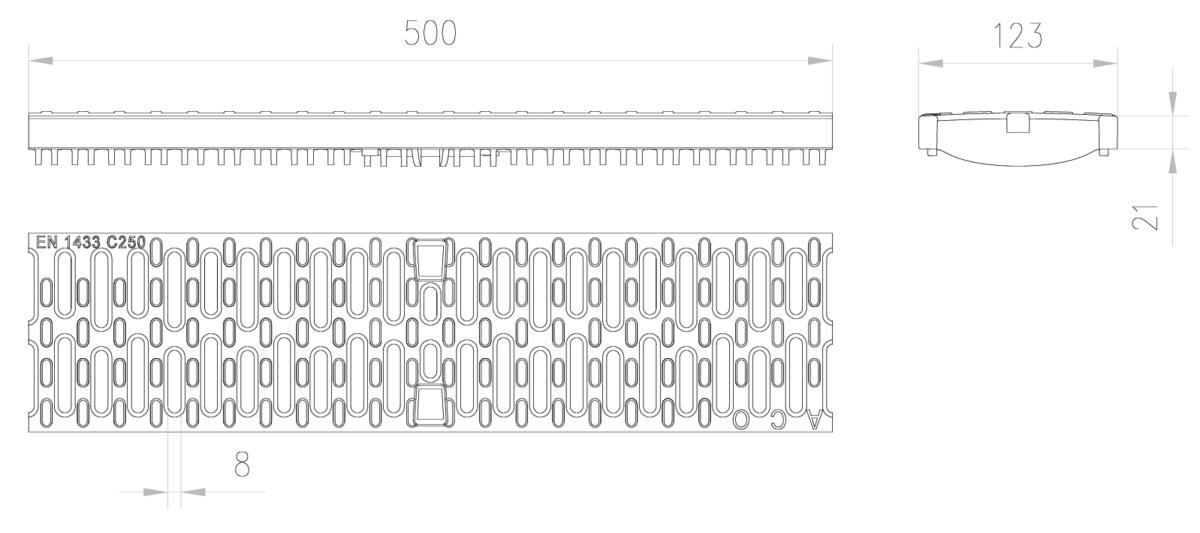 Esquema técnico de la reja para canal MULTIDRIAN/MULTILINE/XTRADRAIN 100, reja pasarela con microgrip R8 en composite plástico de dimensiones L500 A123 H21/33 con sistema de fijación Drainlock, clase de carga C250.
