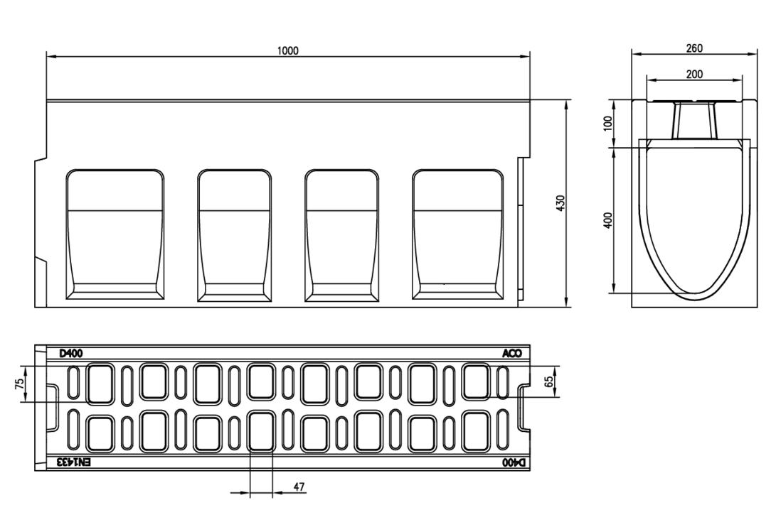 Esquema técnico do canal MONOBLOCK RD200V 10.0 em betão polímerico com grelha integrada F900