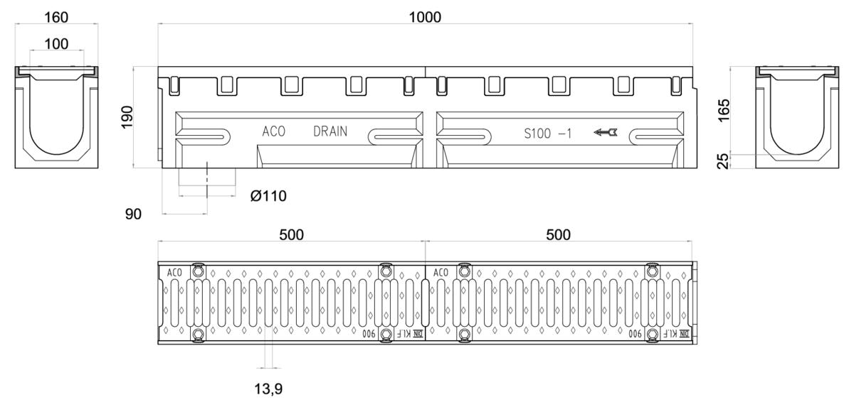 Esquema técnico del conjunto de canal S100 L1000 H190 en hormigon polímero con premarca para salida vertical DN/OD 110 y reja pasarela en fundición D400 con sistema de fijación por tornillos