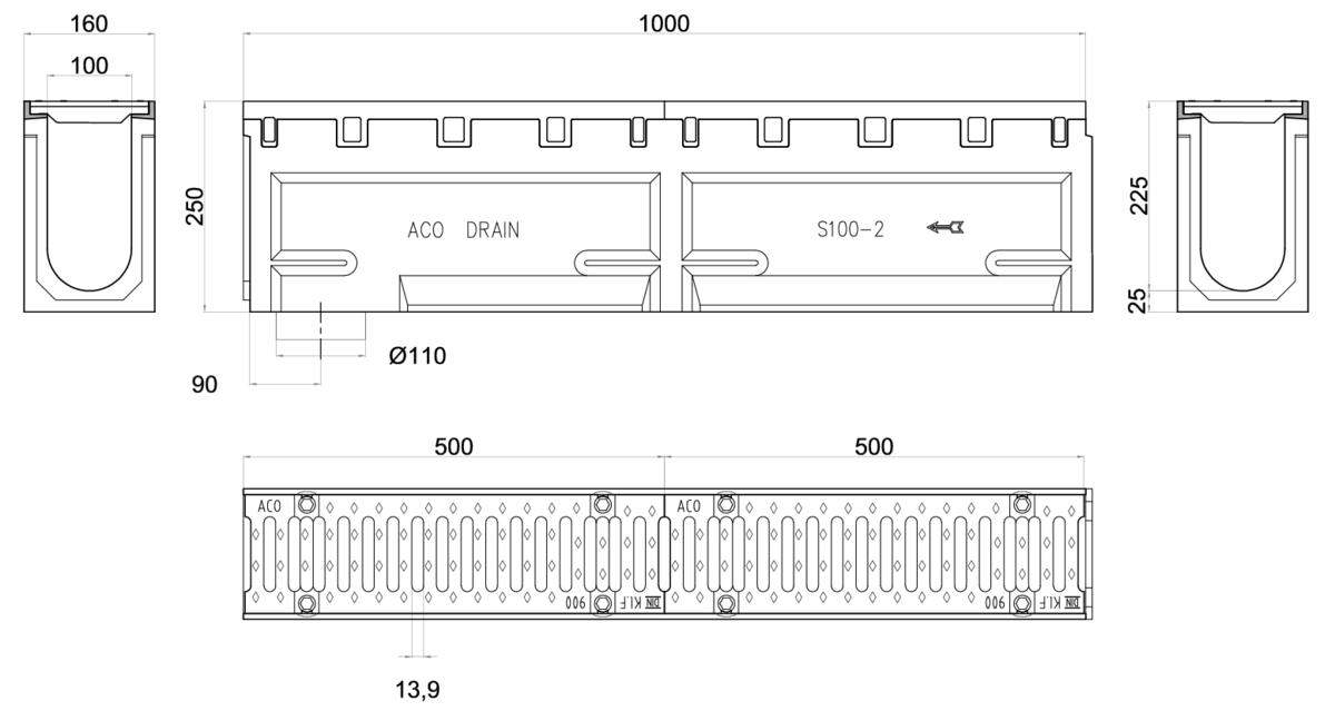 Esquema técnico del conjunto de canal S100 L1000 H250 en hormigon polímero con premarca para salida vertical DN/OD 110 y reja pasarela en fundición D400 con sistema de fijación por tornillos