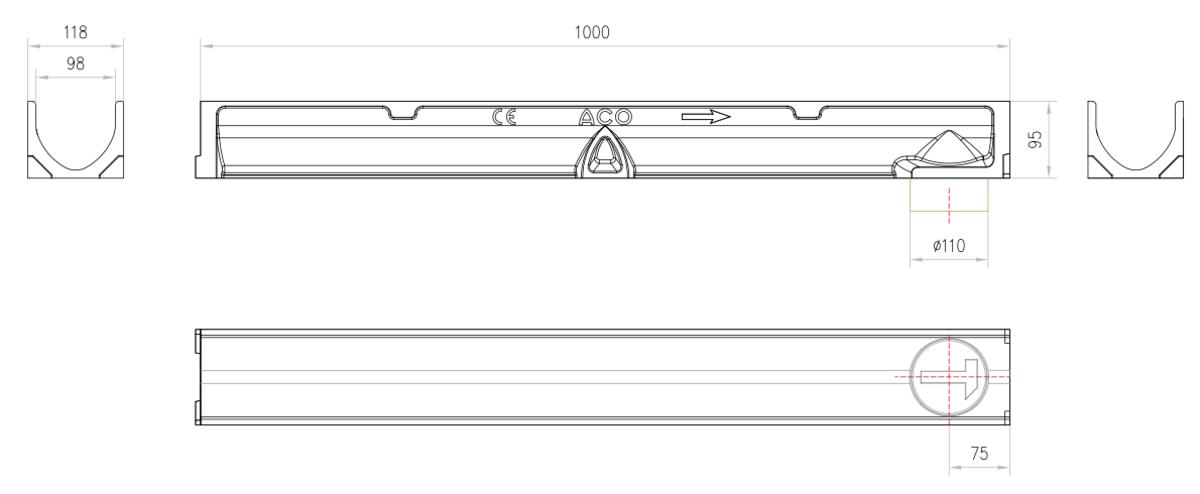 Esquema técnico del conjunto de canal SELF 100 L1000 H95 en hormigon polímero con premarca para salida vertical DN/OD 110 sin reja