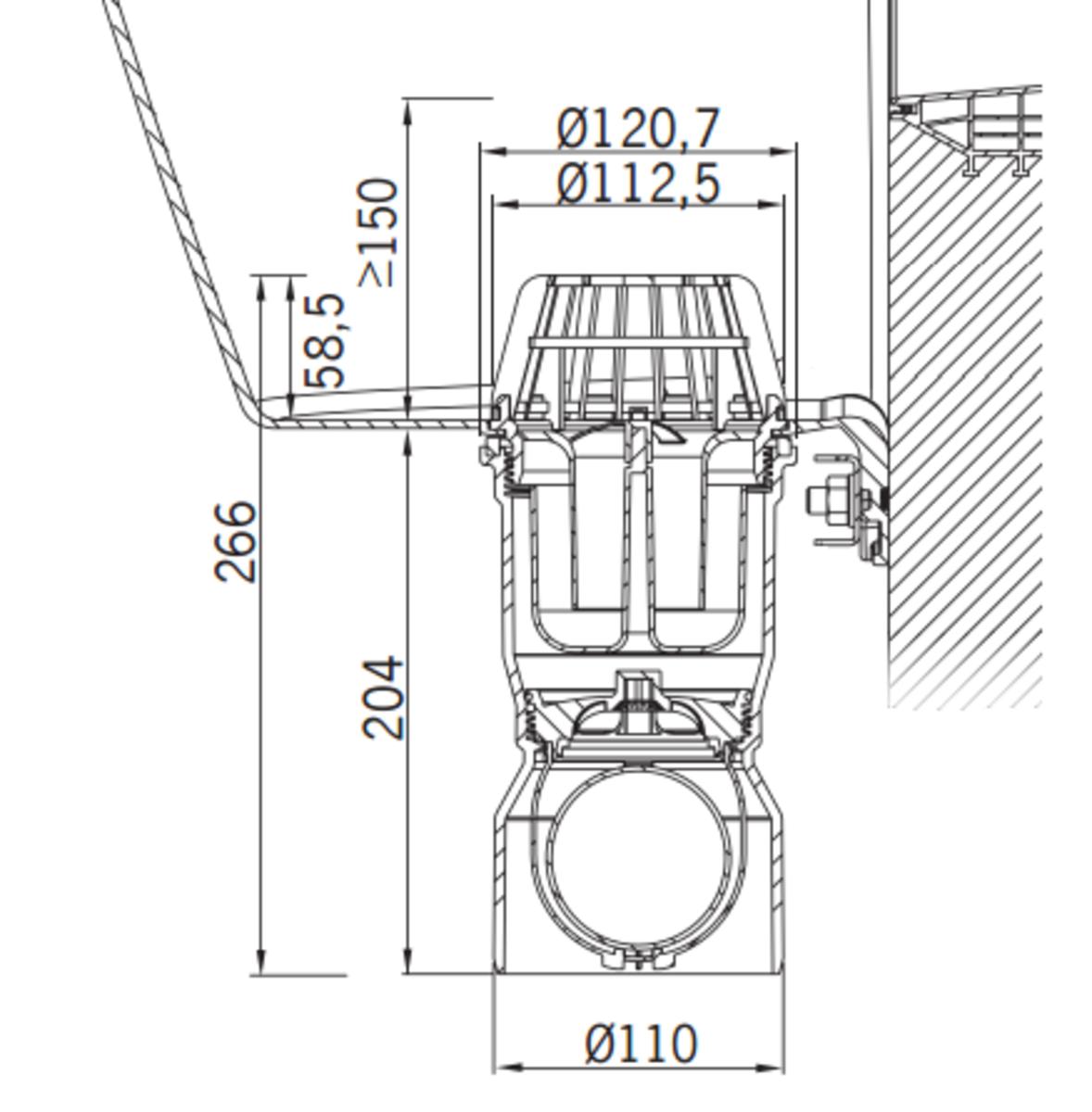 Esquema técnico del sumidero para tragaluz THERM, fabricado en polipropileno color blanco, de dimensiones Ø121 H266 con salida vertical DN110, sifón y válvula antirretorno.