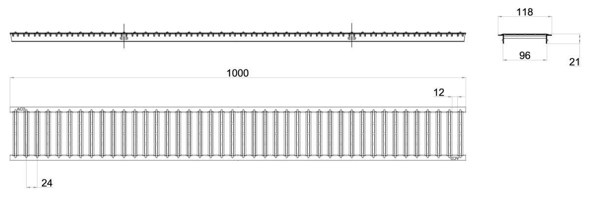 Esquema técnico de la reja para canal SELF 100, reja pasarela en acero inoxidable AISI304 de dimensiones L1000 A118 H21 con sistema de fijación por pestaña, clase de carga A15.