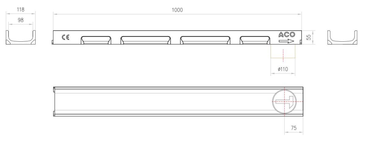 Esquema técnico del conjunto de canal SELF 100 L1000 H55 en hormigon polímero con premarca para salida vertical DN/OD 110 sin reja