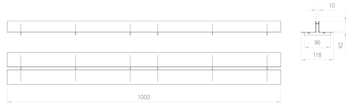 Esquema técnico de la reja para canal SELF 100, reja brickslot T H40 en acero galvanizado de dimensiones L1000 A118 H15 sin sistema de fijación, clase de carga B125.