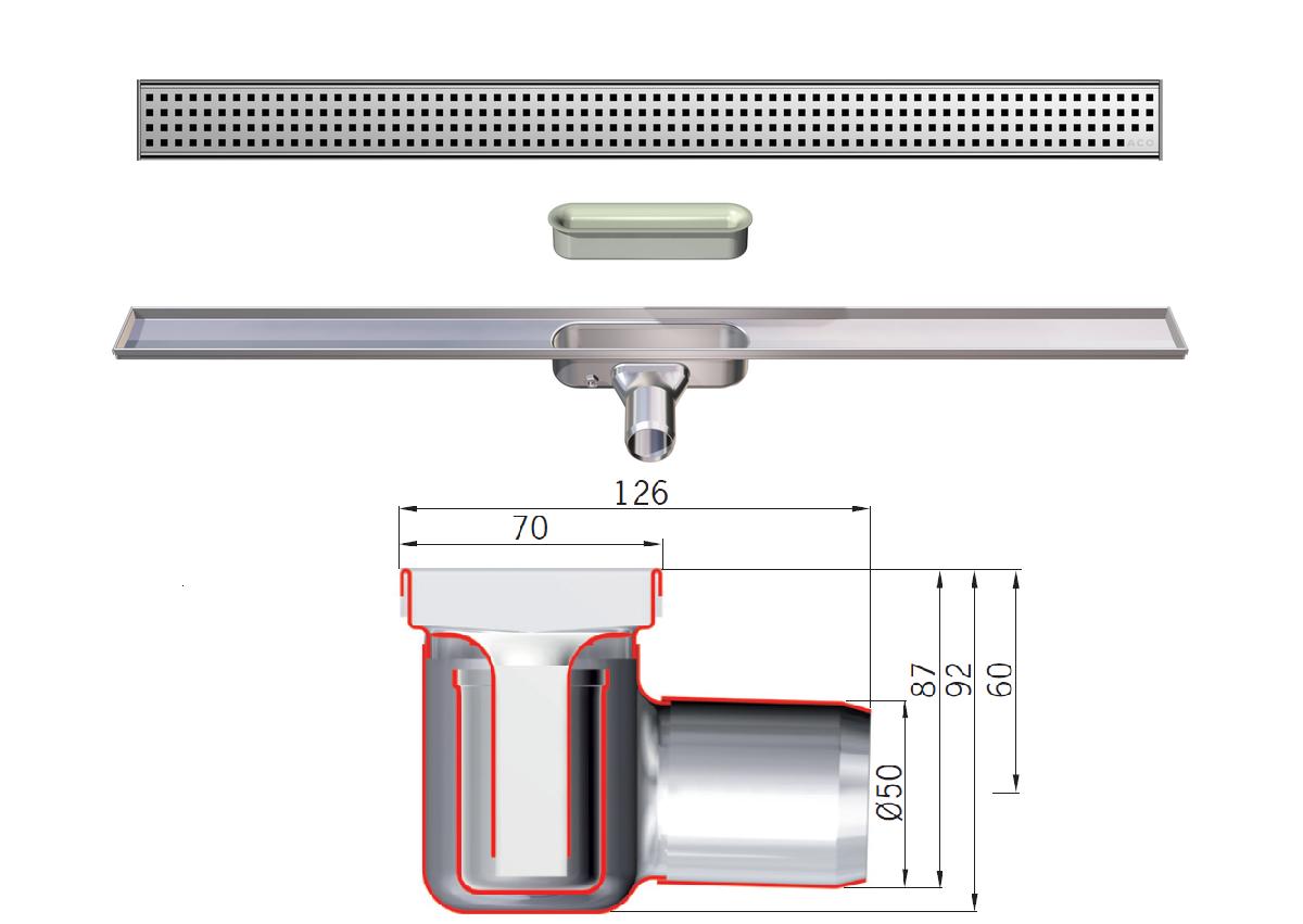 Esquema técnico do canal sem alas SHOWERDRAIN-C L885 A70 H92 em aço inoxidável AISI304 com saída horizontal DN/OD 50 e com grelha perfurada quadrada em aço inoxidável AISI304.