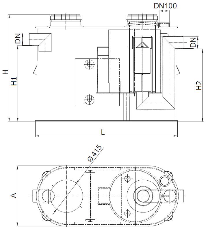 Esquema técnico do separador de hidrocarbonetos aéreo COALISATOR-P NS6 em polietileno de alta densidade (HDPE).