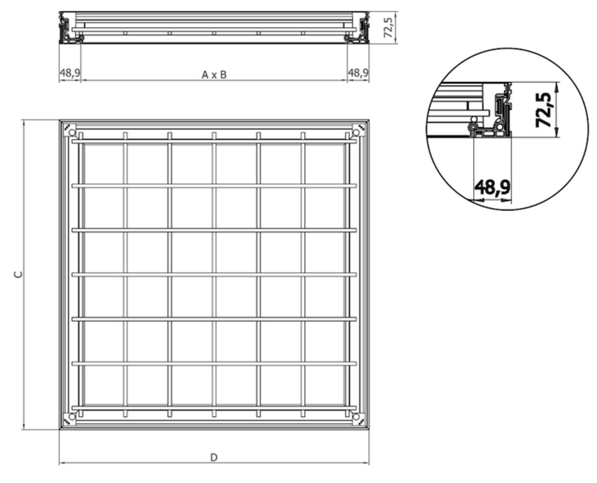 Esquema técnico da tampa TOPTEK RE 1.0 não assistida de dimensões exteriores 500x500mm e altura 72.5, classe de carga M125