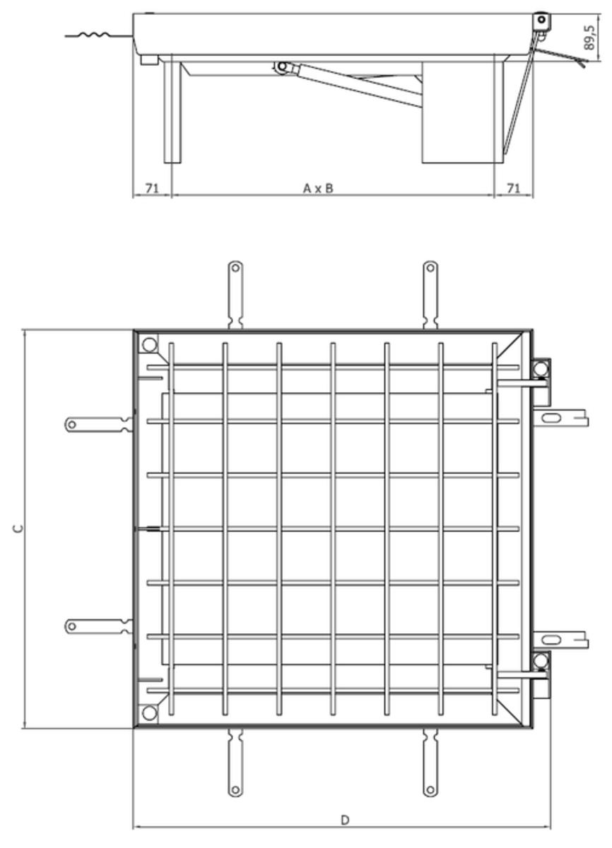 Esquema técnico da tampa TOPTEK RE 1.0 em aço galvanizado assistida de dimensões exteriores 642x675mm e altura 89, classe de carga M125