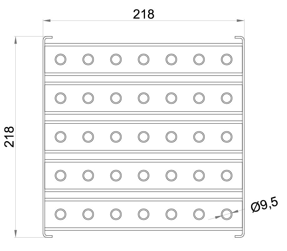 Esquema técnico da grelha para sumidouro EG, grelha multislot 5 em aço inoxidável AISI304 da dimensões L218 A218 H30 sem sistema de fixação, classe de carga L15.