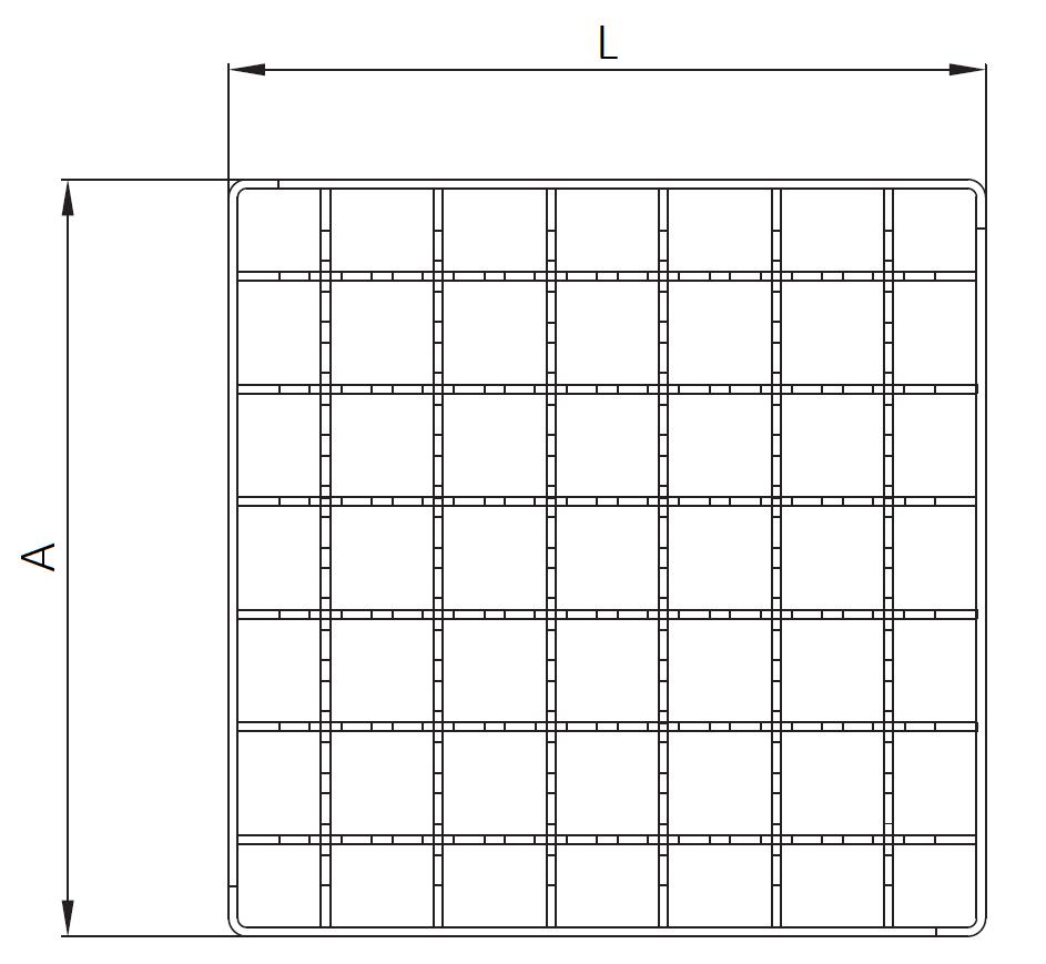 Esquema técnico da grelha para sumidouro EG, grelha entramada antiderrapante 23x23 em aço inoxidável AISI304 da dimensões L168 A168 H25 sem sistema de fixação, classe de carga L15.