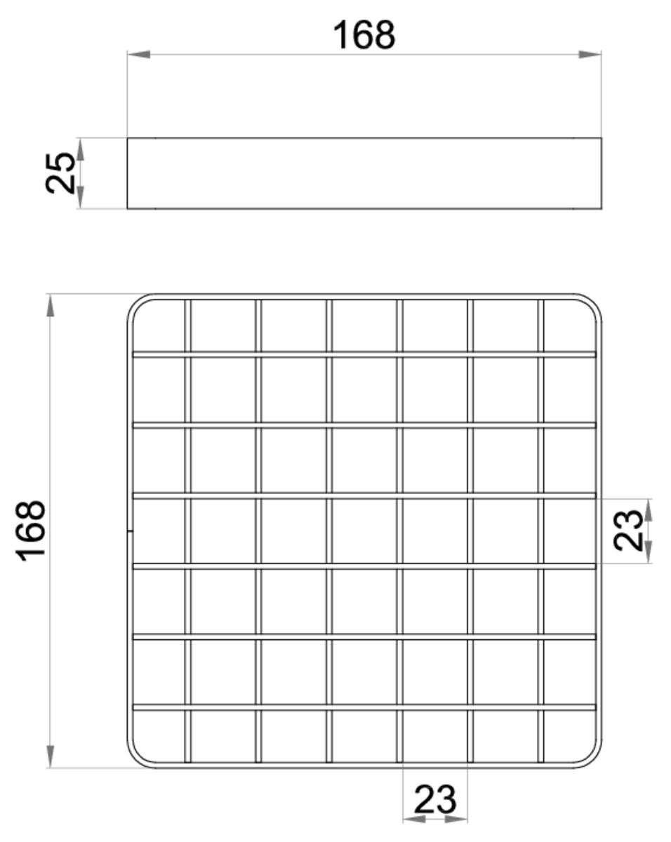 Esquema técnico da grelha para sumidouro EG, grelha entramada lisa 23x23 em aço inoxidável AISI304 da dimensões L168 A168 H25 sem sistema de fixação, classe de carga L15.