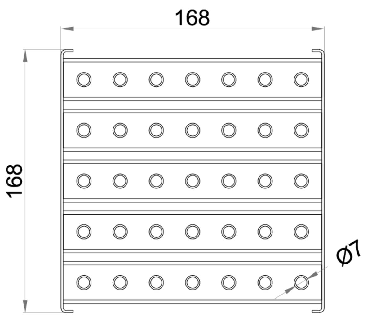 Esquema técnico da grelha para sumidouro EG, grelha multislot 5 em aço inoxidável AISI304 da dimensões L168 A168 H25 sem sistema de fixação, classe de carga L15.