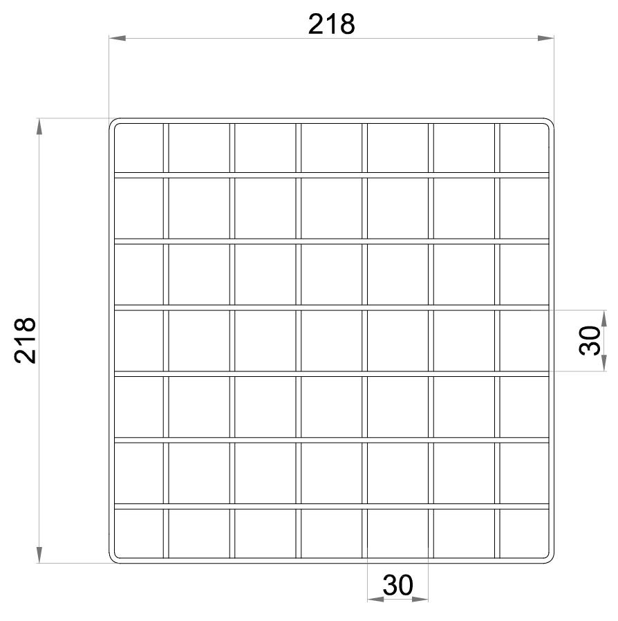 Esquema técnico da grelha para sumidouro EG, grelha entramada lisa 30x30 em aço inoxidável AISI304 da dimensões L218 A218 H30 sem sistema de fixação, classe de carga L15.