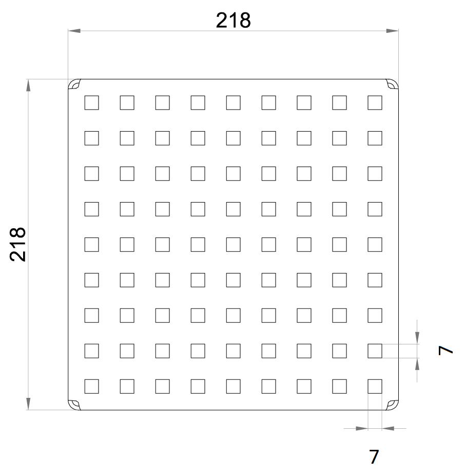 Esquema técnico da grelha para sumidouro EG, grelha quadrato em aço inoxidável AISI304 da dimensões L218 A218 H30 sem sistema de fixação, classe de carga L15.