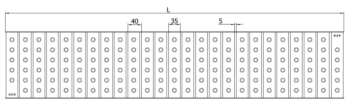 Esquema técnico da grelha para canal Modular 200, grelha multislot 5 em aço inoxidável AISI304 da dimensões L1000 A198 H30 sem sistema de fixação, classe de carga B125.