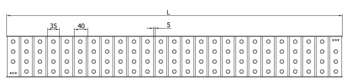 Esquema técnico da grelha para canal Modular 125, grelha multislot 5 em aço inoxidável AISI304 da dimensões L1000 A125 H20 sem sistema de fixação, classe de carga A15.