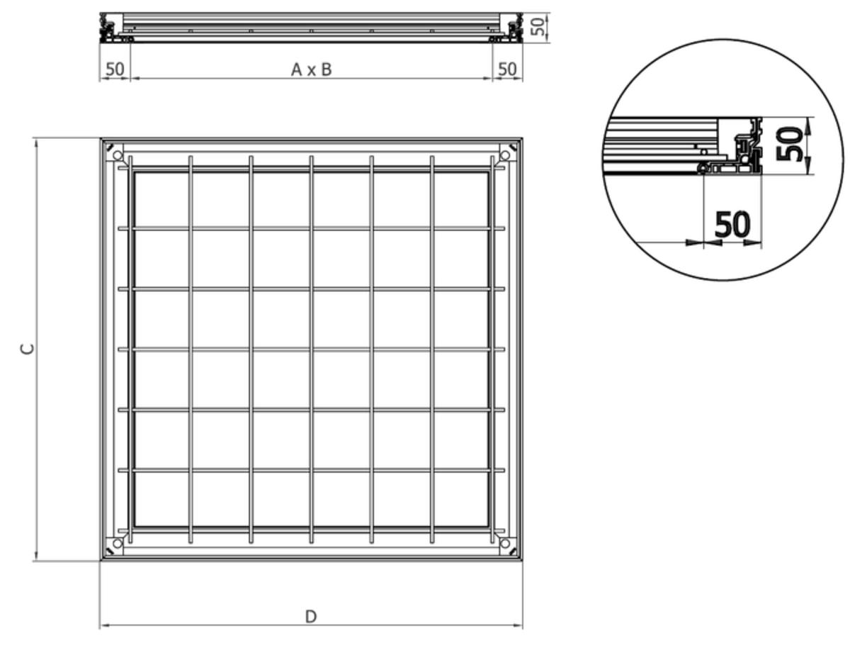 Esquema técnico da tampa TOPTEK RE 1.0 não assistida de dimensões exteriores 500x500mm e altura 50, classe de carga pedonal