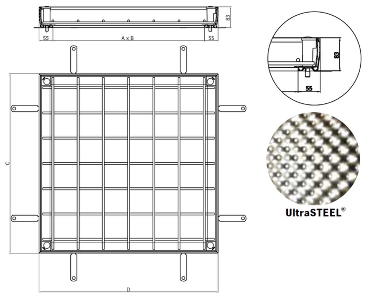 Esquema técnico da tampa TOPTEK RE 2.0 em aço galvanizado ultrasteel não assistida de dimensões exteriores 610x610mm e altura 82.5, classe de carga M125