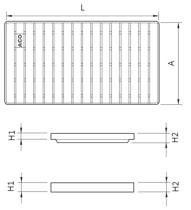 Esquema técnico da grelha para canal BOX HF, grelha de barras antiderrapante em aço inoxidável AISI304 da dimensões L500 A268 H20/30 sem sistema de fixação, classe de carga M125.