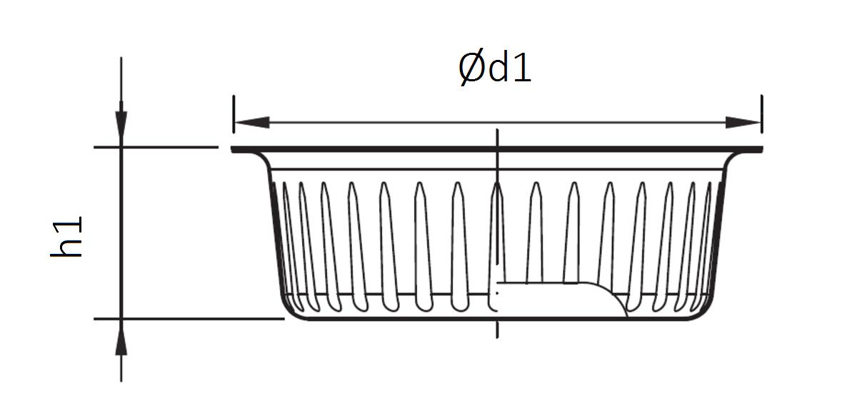 Esquema técnico do cesto em aço inoxidável AISI304, de Ø159 H50 para sumidouros EG com saída vertical.