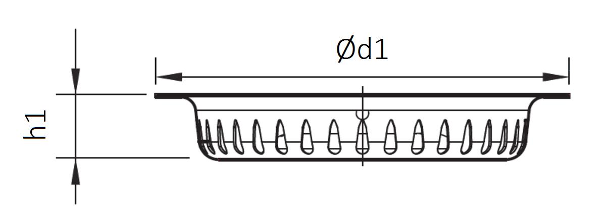 Esquema técnico del cestillo en acero inoxidable AISI304, de Ø159 H26 para sumideros EG de salida horizontal.