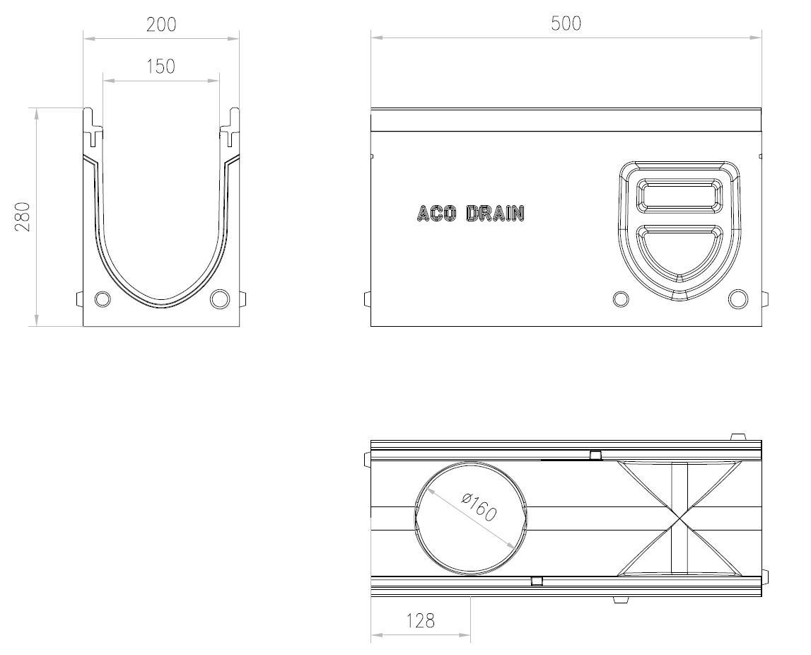 Esquema técnico do canal de inspecção MONOBLOCK PD100V 0.2 L500 H280 em betão polímerico com grelha passarela em fundição D400, sistema de fixação Drainlock e pré-formas laterais quebráveis L-T-X e vedação estanca
