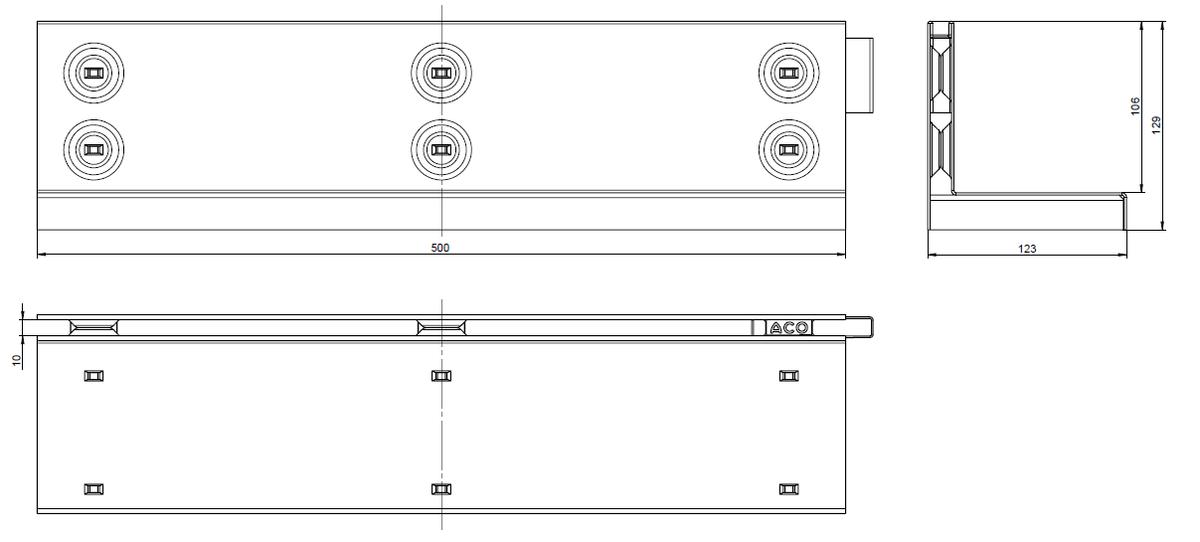 Esquema técnico de la reja para canal MULTIDRIAN/MULTILINE/XTRADRAIN 100, reja brickslot-ST L H105 en acero inoxidable AISI304 de dimensiones L500 A123 H129 sin sistema de fijación, clase de carga C250.