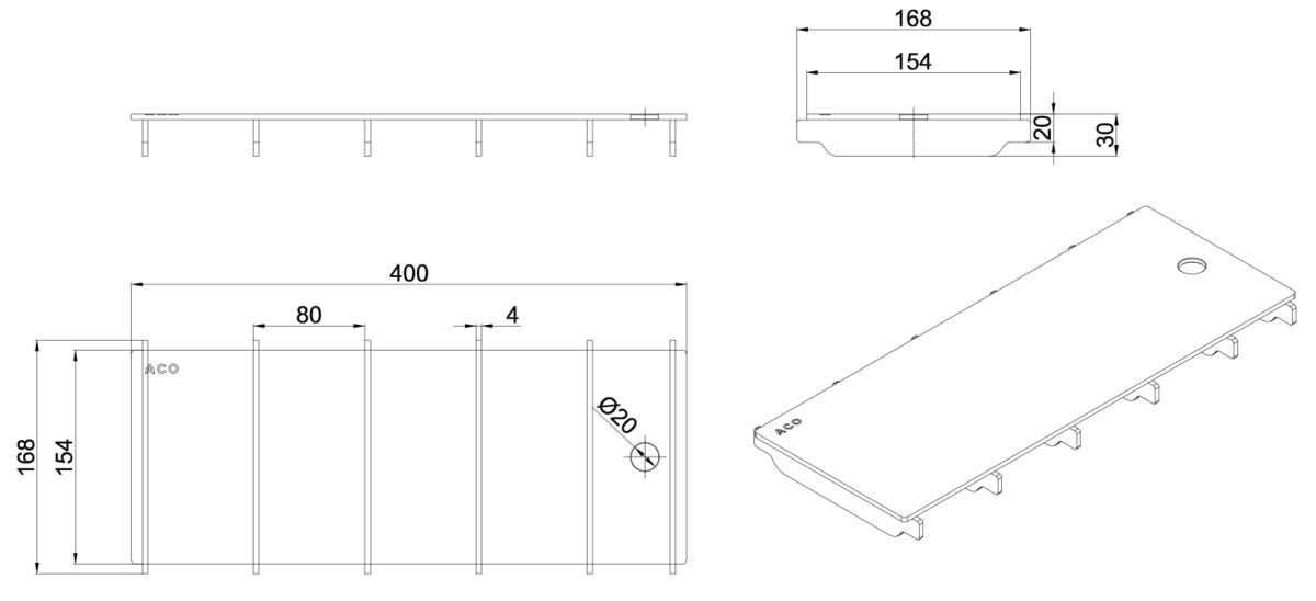 Esquema técnico da grelha para canal BOX HF, grelha ranhurada em aço inoxidável AISI304 da dimensões L400 A168 H20/30 sem sistema de fixação, classe de carga R50.