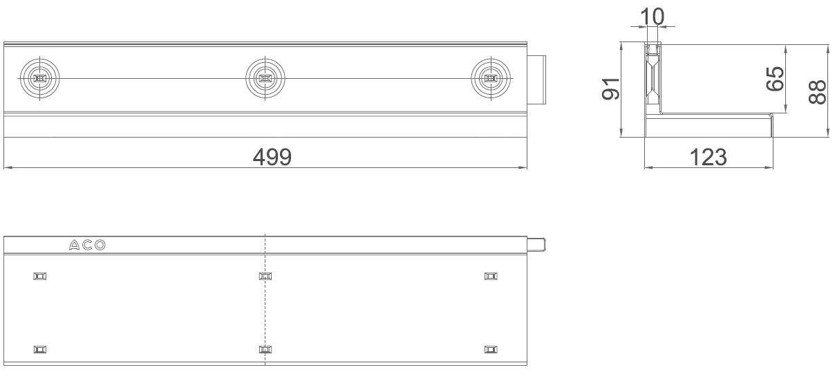 Esquema técnico de la reja para canal MULTIDRIAN/MULTILINE/XTRADRAIN 100, reja brickslot-ST L H65 en acero galvanizado de dimensiones L500 A123 H88 sin sistema de fijación, clase de carga C250.