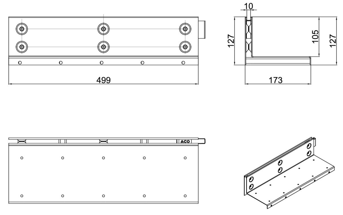 Esquema técnico de la reja para canal MULTIDRIAN/MULTILINE/XTRADRAIN 150, reja brickslot-ST L H105 en acero galvanizado de dimensiones L500 A173 H127 sin sistema de fijación, clase de carga D400.