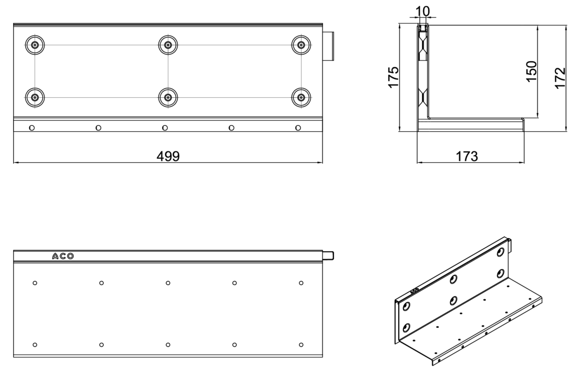 Esquema técnico de la reja para canal MULTIDRIAN/MULTILINE/XTRADRAIN 150, reja brickslot-ST L H150 en acero galvanizado de dimensiones L500 A173 H177 sin sistema de fijación, clase de carga D400.