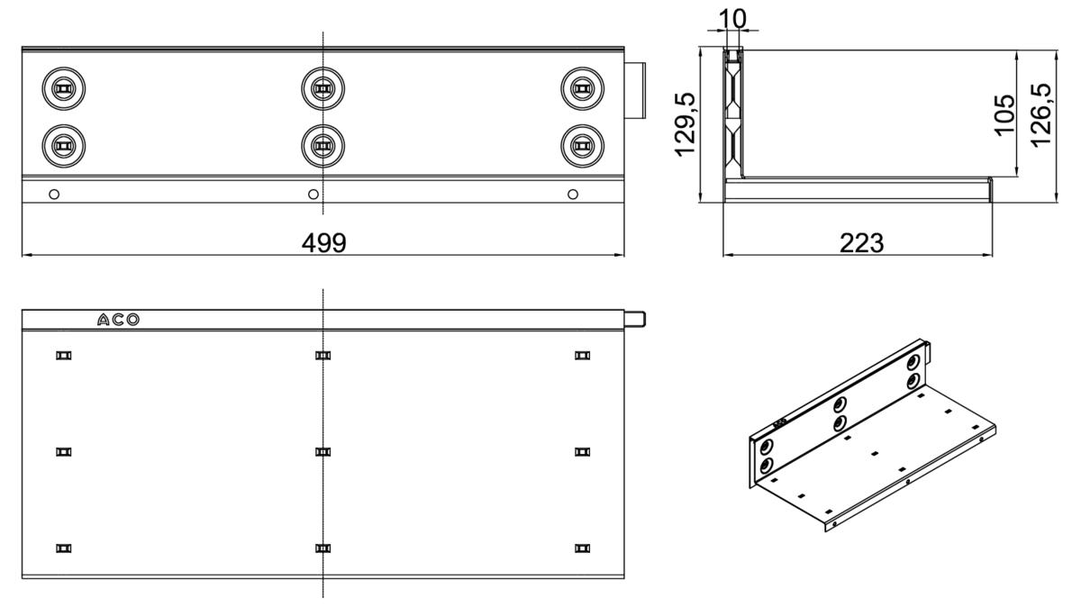 Esquema técnico de la reja para canal MULTIDRIAN/MULTILINE/XTRADRAIN 200, reja brickslot-ST L H105 en acero galvanizado de dimensiones L500 A223 H127 sin sistema de fijación, clase de carga C250.