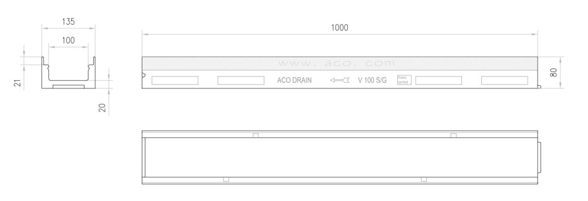Esquema técnico do canal MULTIDRAIN 100 BA L1000 H80 em betão polímerico sem grelha, sistema de fixação Drainlock e com pré-marca rompivel DN/OD110