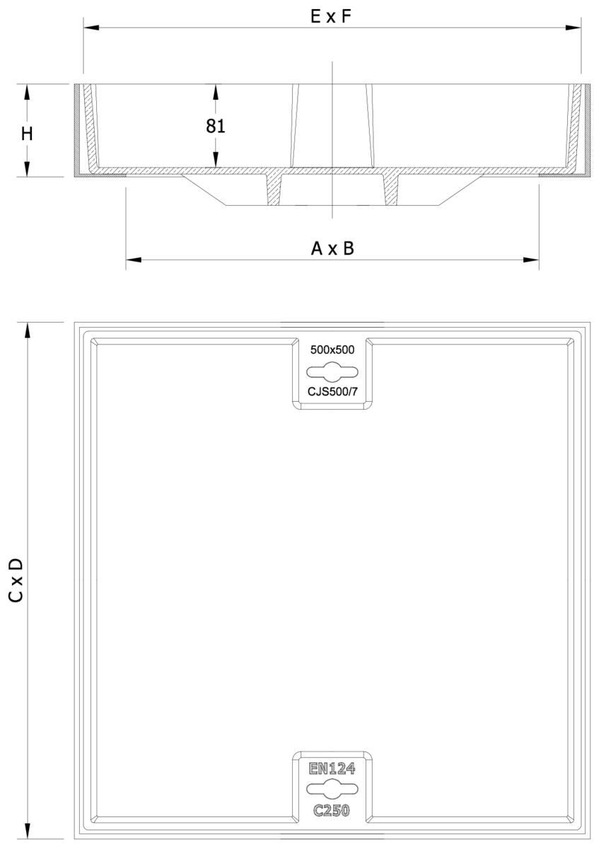 Esquema técnico de la tapa BASIC rellenable en fundición dúctil, de dimensiónes L500 A500 H90 clase de carga C250.