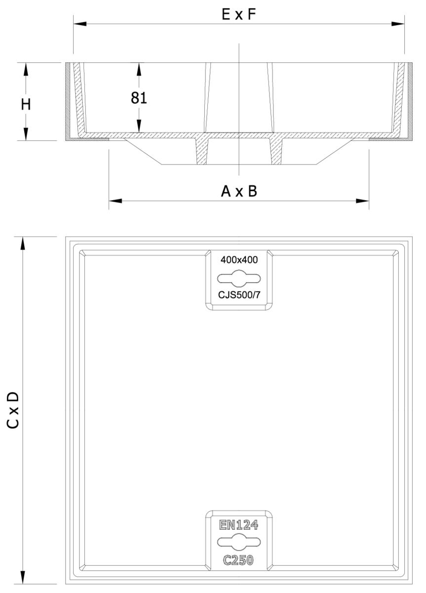 Esquema técnico de la tapa BASIC rellenable en fundición dúctil, de dimensiónes L400 A400 H90 clase de carga C250.