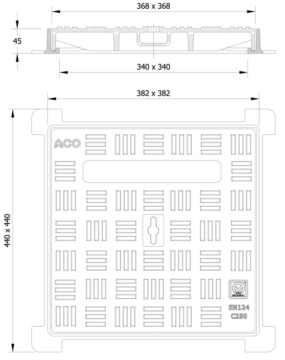 Esquema técnico da tampa BASIC quadrada em fundição dúctil, de dimensões L440 A440 H45 classe de carga C250, sem inscripção superior.