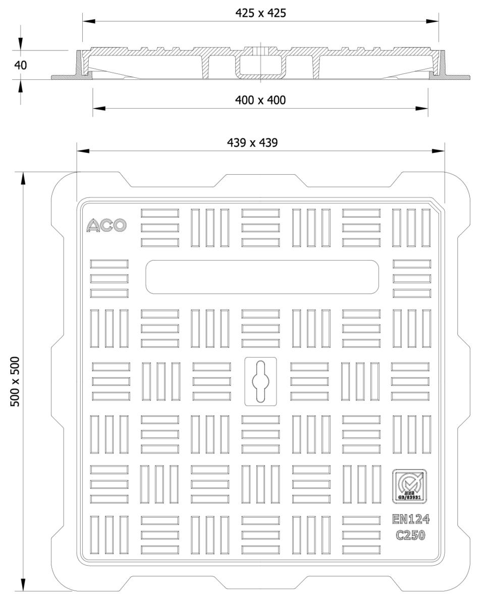 Esquema técnico da tampa BASIC quadrada em fundição dúctil, de dimensões L500 A500 H40 classe de carga C250, sem inscripção superior.