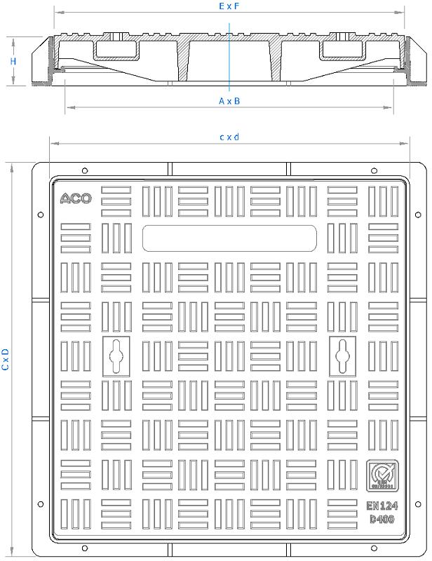 Esquema técnico da tampa BASIC quadrada em fundição dúctil, de dimensões L600 A600 H75 classe de carga D400, sem inscripção superior.