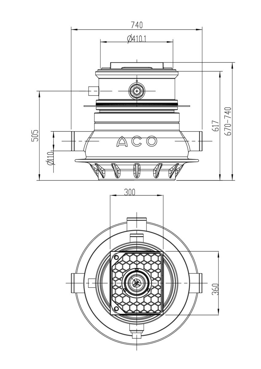 Esquema técnico general de la estación de bombeo enterrada MULI UF MWP1 para aguas negras, con una poténcia de 0,6 kW