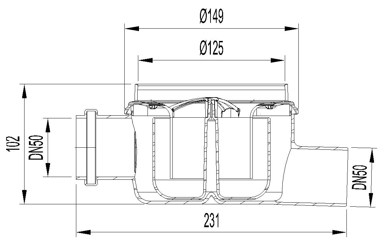 Esquema técnico do corpo de ralo EASYFLOW, fabricado em polipropileno, de dimensões Ø125 H102 fundo Ø149, saída horizontal DN50, 1 entrada DN50, com sifão.