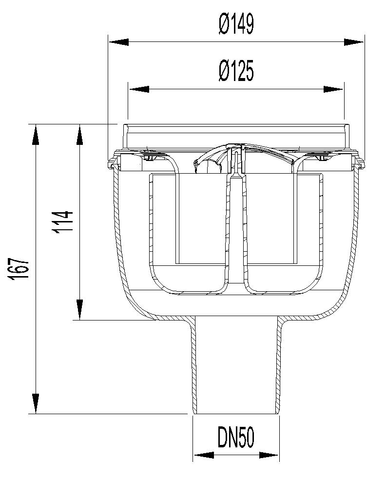 Esquema técnico do corpo de ralo EASYFLOW, fabricado em polipropileno, de dimensões Ø125 H167 fundo Ø149, saída vertical DN50, com sifão.