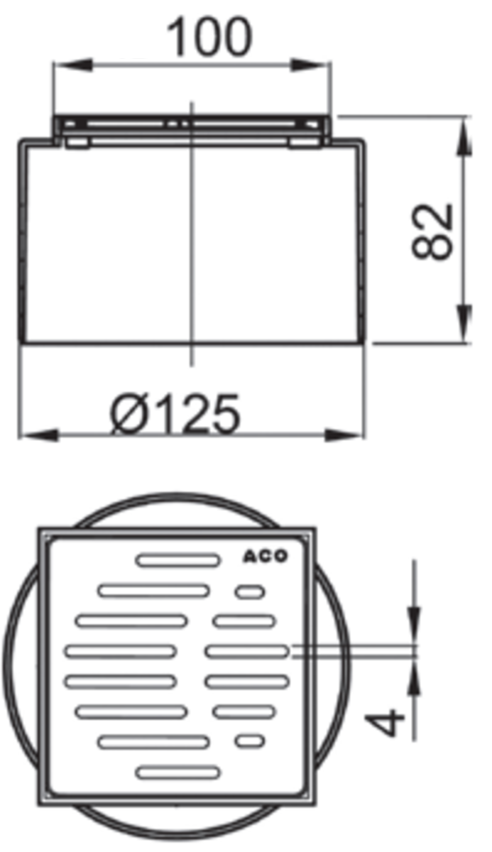 Esquema técnico da secção de topo do sumidouro EASYFLOW, fabricado em plástico ABS, de dimensões L100 A100 H82 fundo Ø125, com grelha slot em aço inoxidável AISI304 classe de carga K3.