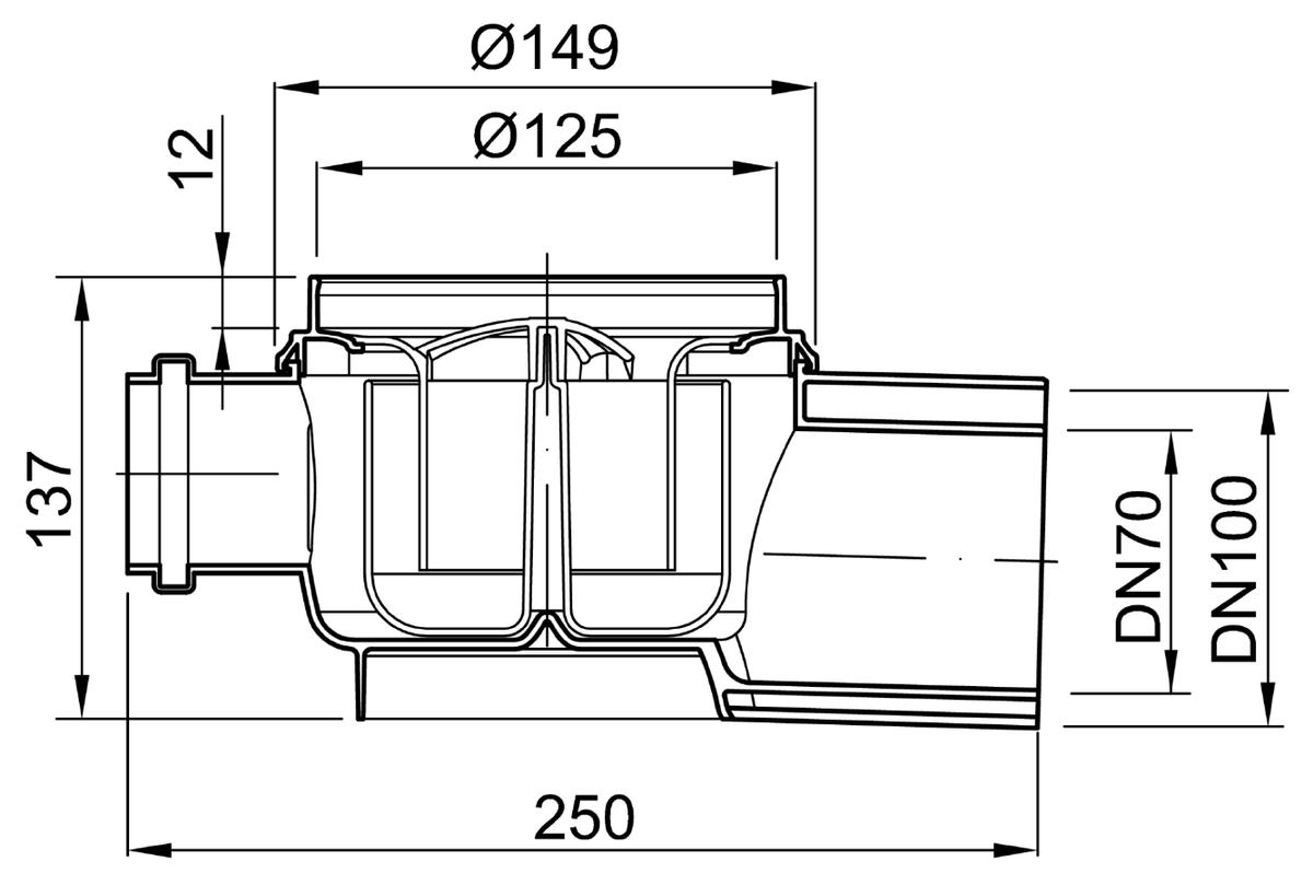 Esquema técnico do corpo de ralo EASYFLOW, fabricado em polipropileno, de dimensões Ø125 H137 fundo Ø149, saída horizontal DN70/100, 1 entrada DN50, com sifão.