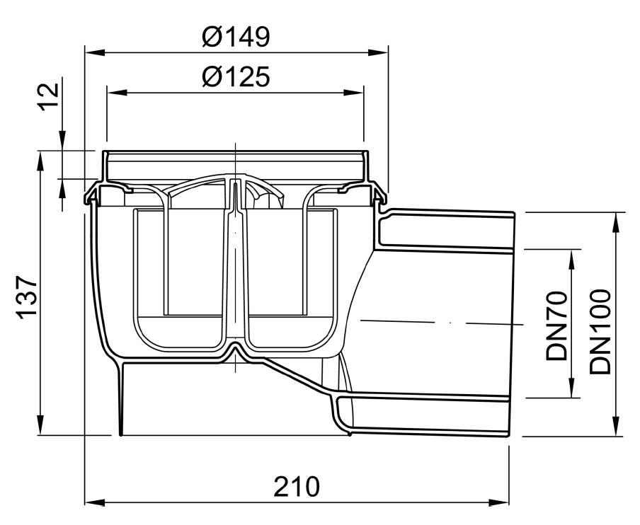 Esquema técnico do corpo de ralo EASYFLOW, fabricado em polipropileno, de dimensões Ø125 H137 fundo Ø149, saída horizontal DN70/100, com sifão.