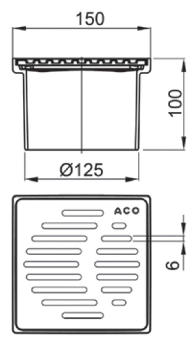 Esquema técnico da secção de topo do sumidouro EASYFLOW, fabricado em plástico ABS, de dimensões L150 A150 H100 fundo Ø125, com grelha slot em aço inoxidável AISI304 classe de carga K3.