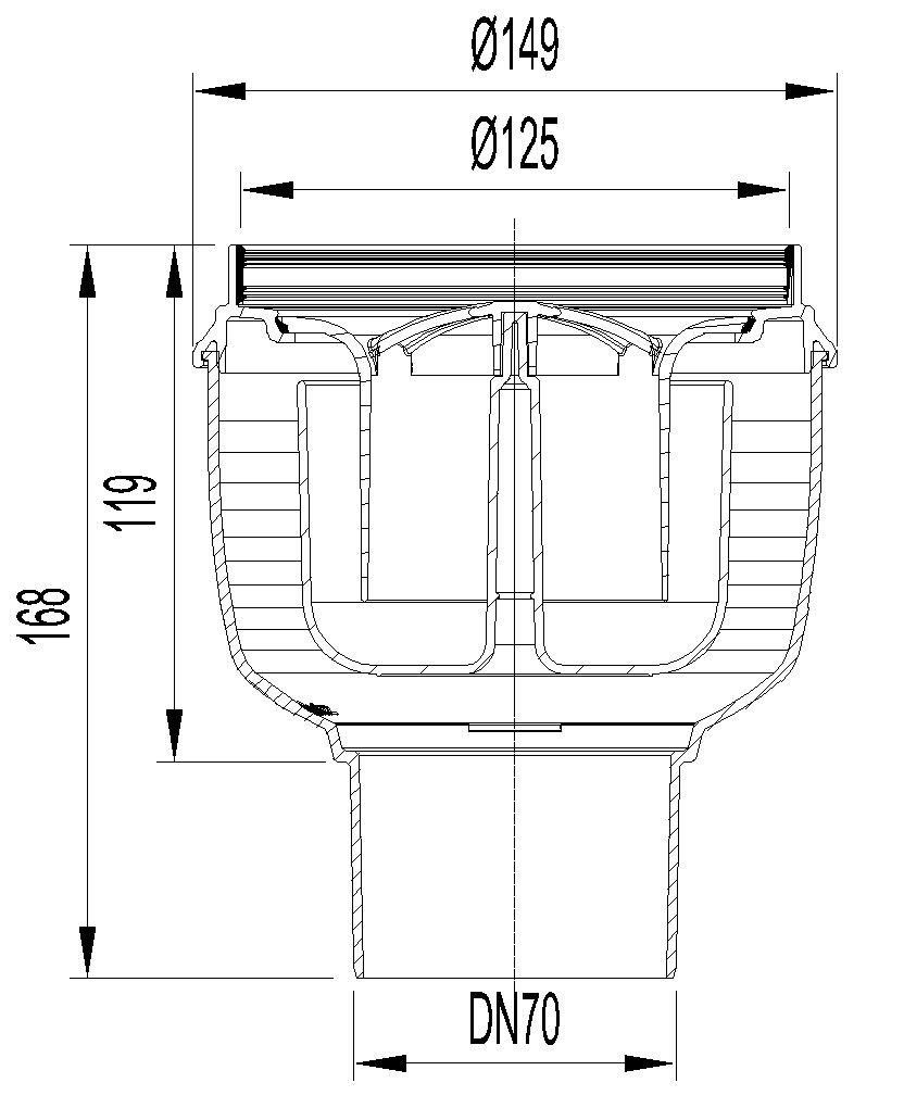 Esquema técnico do corpo de ralo EASYFLOW, fabricado em polipropileno, de dimensões Ø125 H168 fundo Ø149, saída vertical DN70, com sifão.