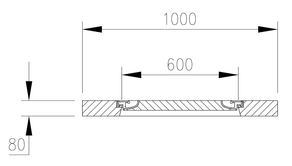 Esquema técnico del la tapa fija para separador de grasas. Incluye 1 tapa de hormigón Ø600 A15 y marco en horigmón de dimensiónes Ø1000 H80.